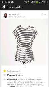 shirt,vertical stripes,horizontal stripe,black,white,romper,american apparel,casual,shorts