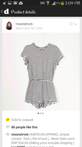 shirt vertical stripes horizontal stripe black white romper american apparel casual shorts