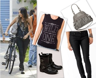 top emily fields shay mitchell black cream jewels bracelets boots tank top vest gemstone ombre hair