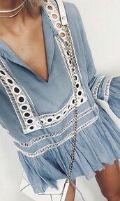 dress,blue,flowy,blue dress,light blue,light blue dress,flowy dress,blouse,boho blouse,blue top,pastel blue,chain bag,white bag,ruffle,bell sleeves