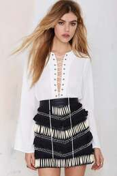 skirt,black and white,spring,trendy,nastygal,blouse,fashion,style,criss cross,long sleeves,summer,sexy,hot,rose wholesale-dec,lace up top
