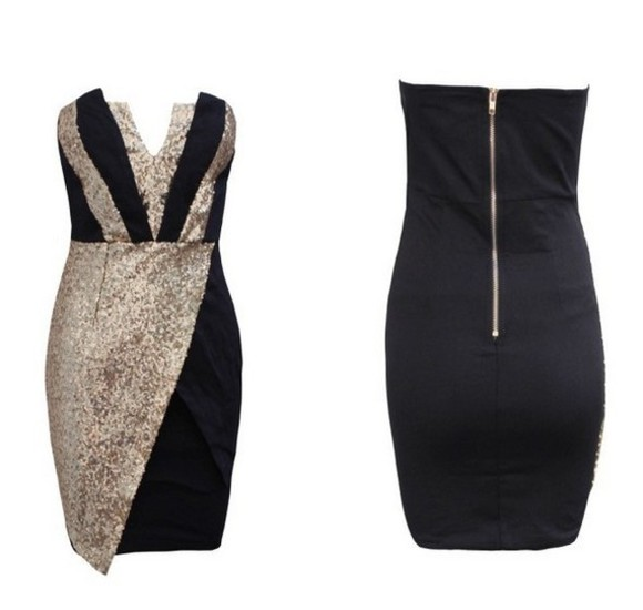 dress prom dress sequin dress little black dress gold sequins cute dress find stripes blackandgold