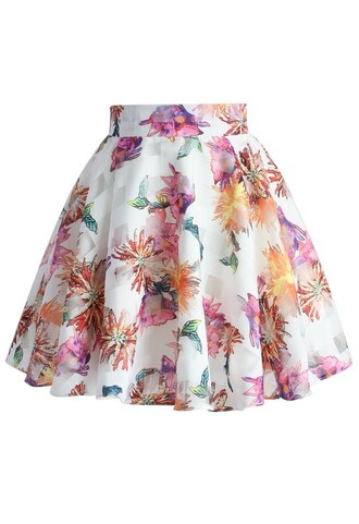 skirt chicwish marigold and frills organza skater skirt floral skirt summer skirt chicwish.com floral skater skirt