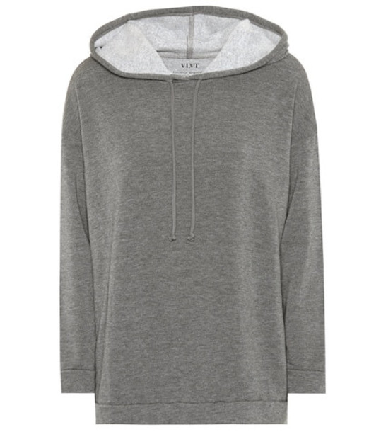 Velvet Harley jersey hoodie in grey