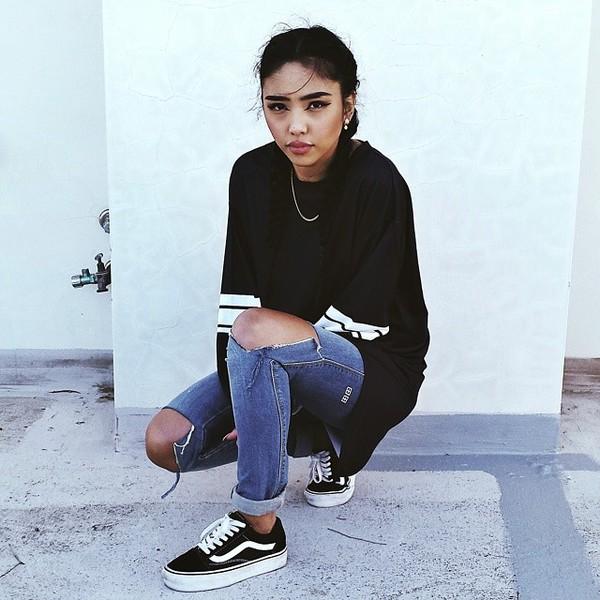 Shoes Sweater Vans Sneakers Black Vans Black And