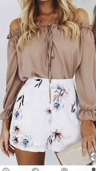 shorts floral white skirt blue pink