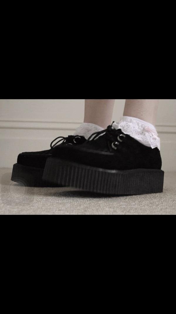 Classic Black Suede Lace Up Punk Goth Platform Studded Flat Creeper