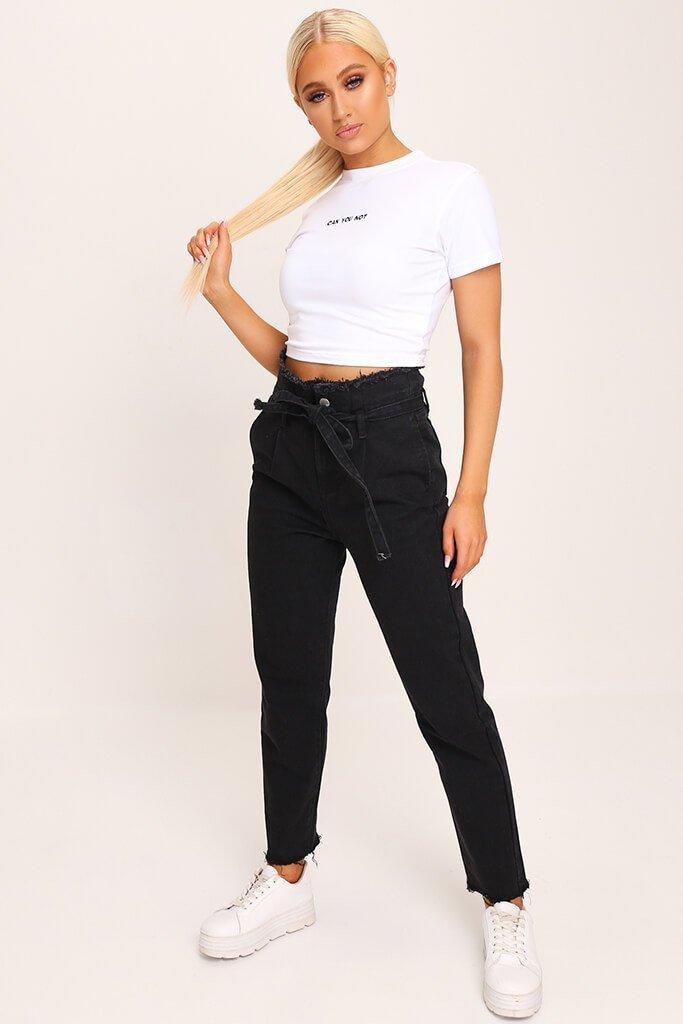 Black High Waisted Paper Bag Belted Mom Jeans