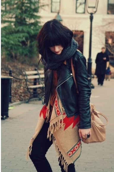 cardigan aztec jacket scarf tribal pattern leather jacket fall outfits kimono
