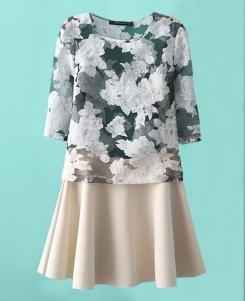 Floral-printed Blouse & Elastic-waist Skirt | BlackFive