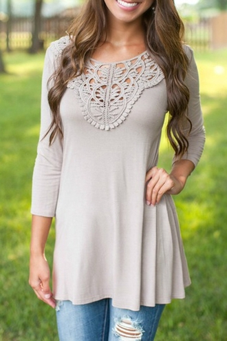 top girly grey cute style fall outfits fashion pretty long sleeves adorable outfit lace embroidered summer
