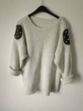 sweater,studs,studded,jumper,hipster,hippie,grey top,clothes,beautiful,knitwear