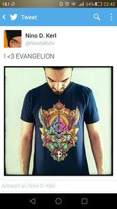 shirt,evangelion,anime,anime shirt,symetrical