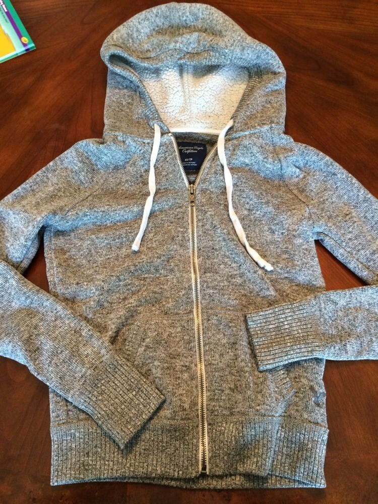 American Eagle Outfitters Womens Size XS Marled Gray Hooded Sweater