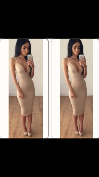 clothes dress bodycon dress low cut tumblr girl