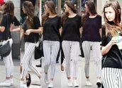 pants,eleanor calder,stripes,bag,jeans,white,black,thin,vertical