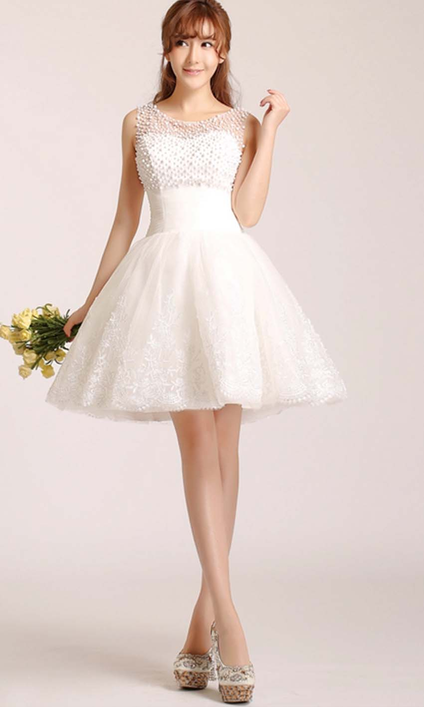 Cute white short lace prom dress with pearl mesh top for Cute short white wedding dresses