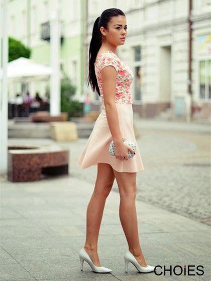 Pink high waist skater skirt