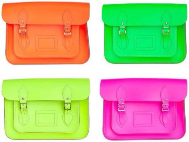 bag neon satchel green orange pink yellow shoulder bag style