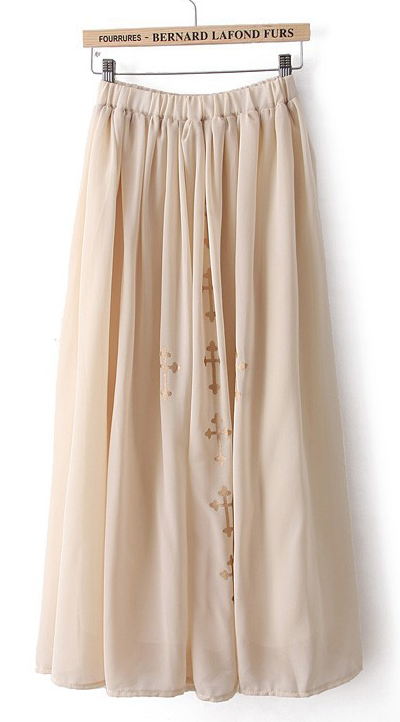 Beige Cross Print Chiffon Long Skirt - Sheinside.com