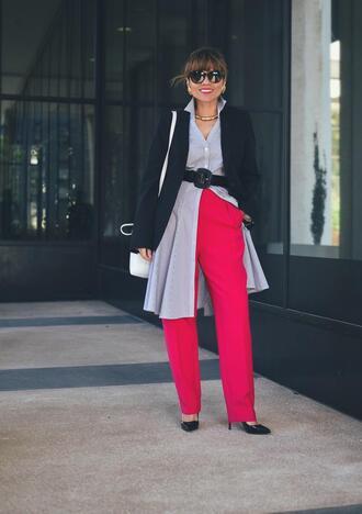 mysmallwardrobe blogger dress jacket pants shoes bag sunglasses belt jewels pink pants pumps blazer
