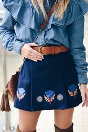 skirt,tumblr,mini skirt,blue skirt,embroidered,embroidered skirt,belt,shirt,denim shirt,ruffle,ruffle shirt,bag,brown bag