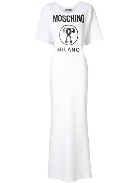 Moschino dress maxi dress maxi women spandex white cotton print