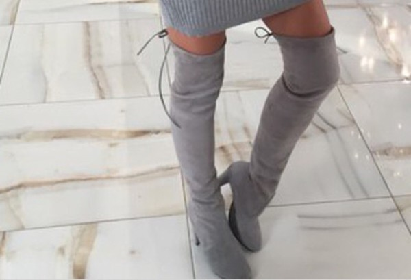 Janine Over the Knee Boots in Grey Faux Suede
