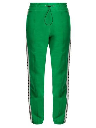 pants track pants cotton print green