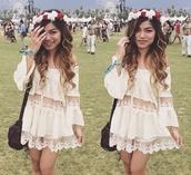 dress,cream,festival,coachella,girl,weekend,instagram,ootd,ootn,river island,style,fashion,women,crochet,floral,lace,silk,sun dance,v festival,weare,girly
