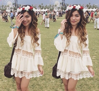 dress cream festival coachella girl weekend instagram ootd ootn river island style fashion women crochet floral lace silk sun dance v festival weare girly