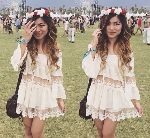 dress girly lace cream festival coachella girl weekend instagram ootd ootn topshop zara river island style fashion woman crochet floral silk sun dance v festival weare lana del rey