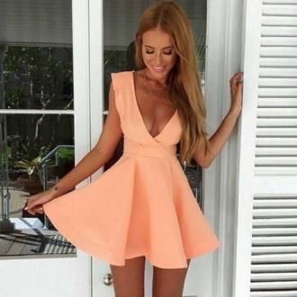 dress v neck dress plunge v neck necklace halter neck dress orange orange dress corail