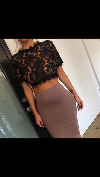 blouse shirt lace top lace crop top black lace black crop tops top lace classy dress skirt nude black lace top beige skirt nude skirt