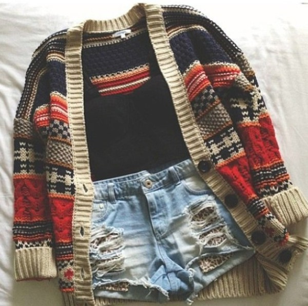 cardigan warm and cozy i need it lol i will love you forever if u find it bye thxs shirt shorts fall sweater colorful cardigan sweater sweater weather girly outfits tumblr plz help