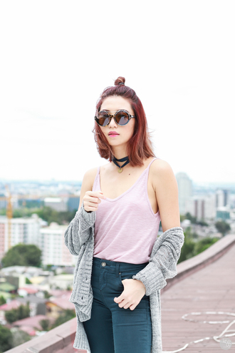 kryzuy blogger top sunglasses pants cardigan