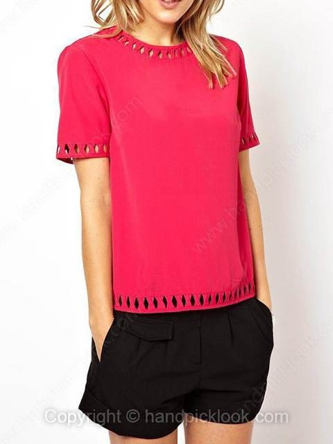 Red Round Neck Short Sleeve Hollow Chiffon Blouse - HandpickLook.com