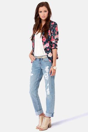 Sari Light Wash Jeans - Boyfriend Jeans - Straight Leg Jeans - $108.00