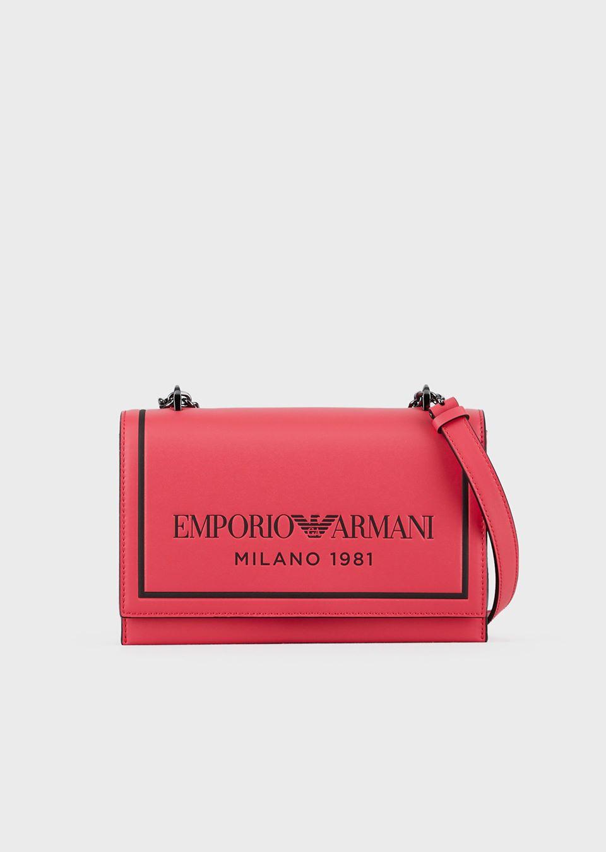 Leather shoulder bag with embossed logo