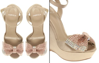 shoes carvela bow wedges rhinestones bling nude summer open toes sandals crystal bow shoes