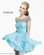 dress,homecoming dress,light blue,blue,blue dress,sherri hill