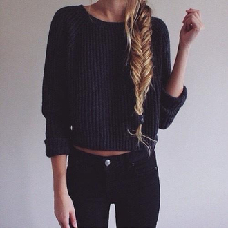 sweater thick knit grunge cuffed