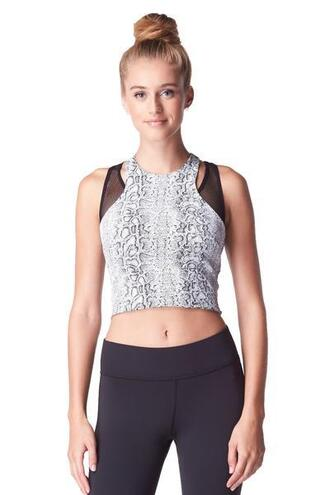 top white python print active top michi bikiniluxe