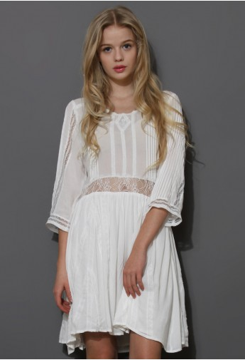 Boho Lace Love Mid-Sleeve Dress - Retro, Indie and Unique Fashion