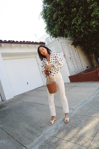 top tumblr polka dots white shirt denim jeans white jeans shoes sandals flat sandals slide shoes bag net bag mesh mesh bag