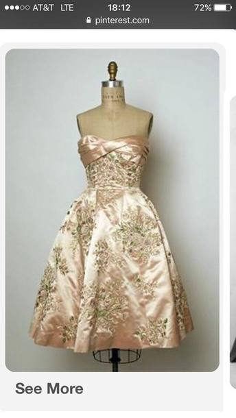 dress pink flowers silk beautiful 1960 1950 vintage strapless strapless dress floural vintage dress