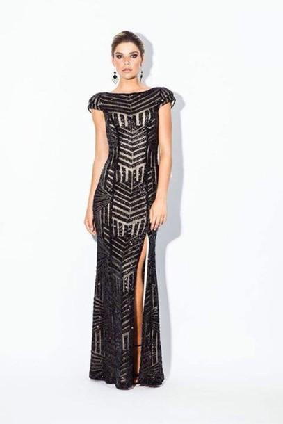 dress black dress formal dress sequence cap sleeves dresses formal black dress chiffon dress