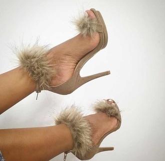 shoes yasss bitch yasss nude nude high heels fur fuzzy heels black swimwear heels furry heels high heels nude heels high heel sandals camel suede suede heels brown brown high heels fluffy