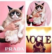 sweater,prada,grumpy cat,natalie gal