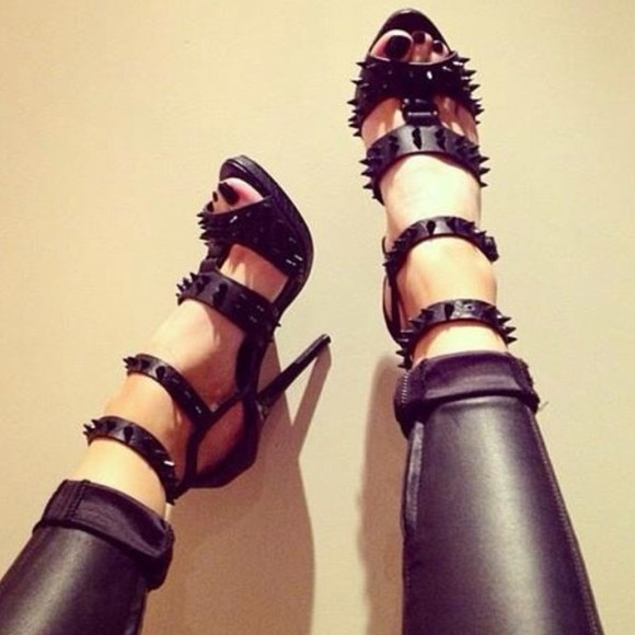 shoes spiked shoes black opentoed